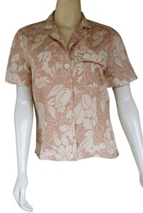 Worth Silk Floral Hawaiian Shirt Top Beige