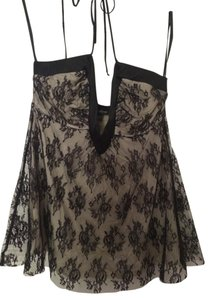 bebe Lace Sleeveless Evening Black/Ivory Halter Top
