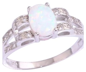 New Lab Created Fire Opal & .925 Stamped Sterling Silver Ring 8