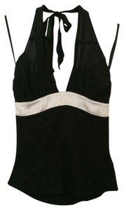 bebe Silk Black/Ivory Halter Top