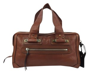 Chloé Zippers Calfskit Satchel in Brown