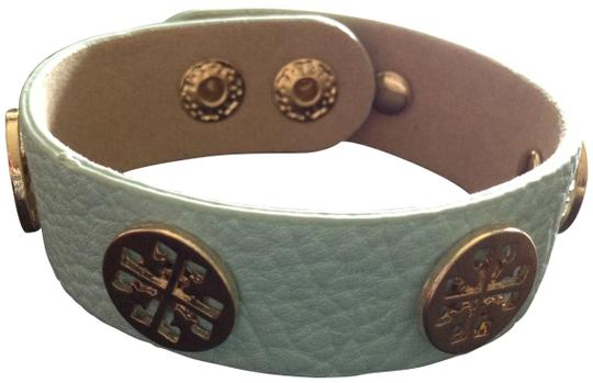 Preload https://item1.tradesy.com/images/mint-blue-leather-bracelet-with-gold-151860-0-0.jpg?width=440&height=440