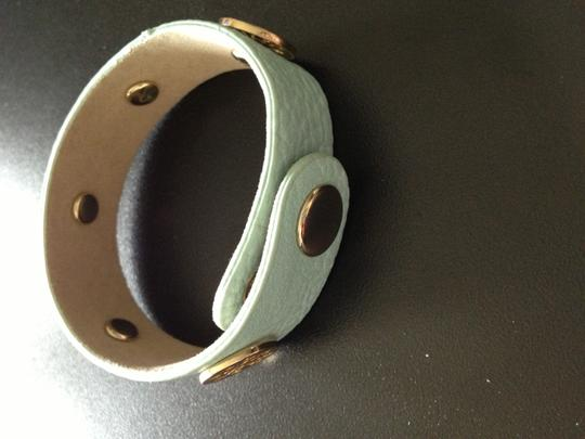 Boutique mint blue leather bracelet with gold