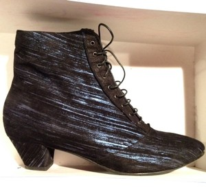 Joux Joux Le Shoe Victoriana Steampunk Wedding Lace-up Dressy Unique Fancy Comfortable Black with electric blue streaks Boots