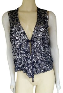 Whistles Sequins Silk Vest Top Blue