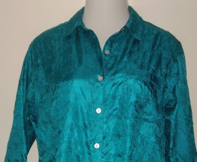 Chico's Size 1 Shirt Jacket Button Down Shirt Teal