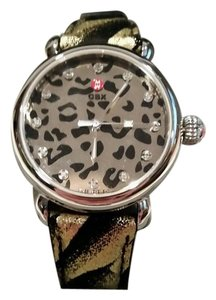 Michele MICHELE LIMITED EDITION CHEETAH ANIMAL PRINT DIAMOND MIRROR DIAL WATCH NEW