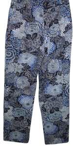 Talbots 60s Mod 70s Art Deco Floral Straight Pants blue