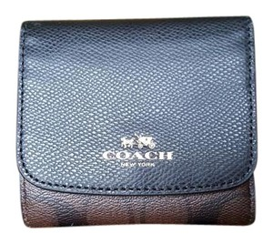 Coach COACH SMALL WALLET IN SIGNATURE PVC BROWN