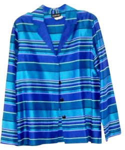August Max Woman 100% Silk Holiday multi-colored blues and greens Jacket