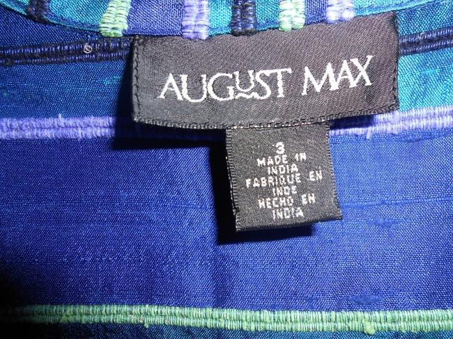 August Max Woman Silk Holiday multi-colored blues and greens Jacket