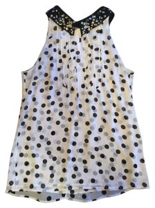White House | Black Market Top White with Black polka-a-dots