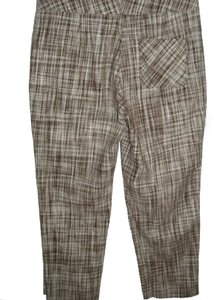 Talbots Linen Linen Tweed Plaid Capris brown