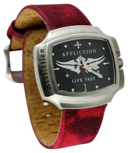 Affliction * Men's Saxon Live Fast Soft-Leather Stitch Burgundy Fashion Watch