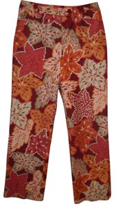 Talbots Trouser Print Hippie Boho Boot Cut Pants rust