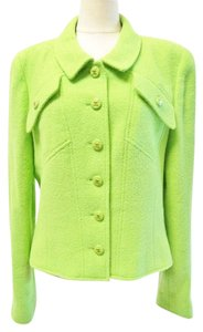 Chanel Cc Logo Jacket Fr 38 Lime Green Blazer