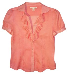 Banana Republic Cotton Retro Ruffle Summer Top Coral and White