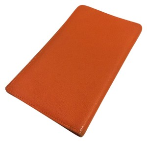 Hermès K5 HERMES Pocket Diary Dayplanner Cover Agenda Orange Leather wallets