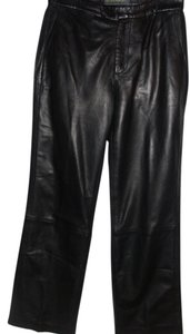 Banana Republic Leather Lambskin Moto Rocker Boot Cut Pants black