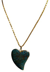 Other Gemstone Heart Pendant Necklace Gold Color Chain N625