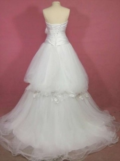 Alfred Angelo White Satin 211c Formal Wedding Dress Size 8 (M)