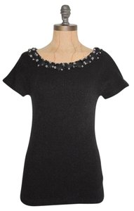 Anthropologie Knit Embelished Stretchy Wool Blend Top BLACK