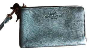 Coach Pebble Leather Double Zip Wristlet