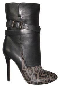 Jimmy Choo Leather Leopard With Box Black Boots
