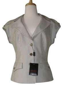 Escada Escada Gray White Pinstripe Summer Cap Sleeve Jacket