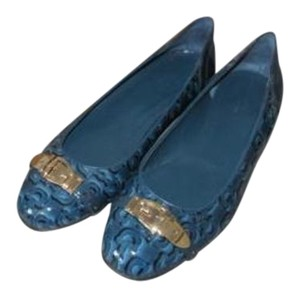 Gucci B Teal Patent Leather Buckle Blue Flats