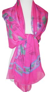 Leonard Paris NWT AUTHENTIC LEONARD PINK OBOLONG PARIS SIGNATURED 100%SILK 26X68 SCARF/SHAWL