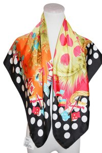 Versace NWT VERSACE ITALY SILK SQUARE BLACK RED WOMEN SCARF 34X34