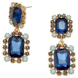 Other Double Emerald Cut Montana Blue Rhinestone Crystal Earrings