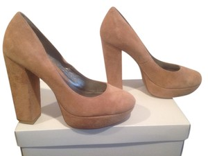 Gianni Bini Leather Tan Suede Platforms