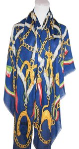 Moschino MOSCHINO CHEAP AND CHIC ITALY WOMEN BLUE CHAINS SOFT OBOLONG SCARF SHAWL
