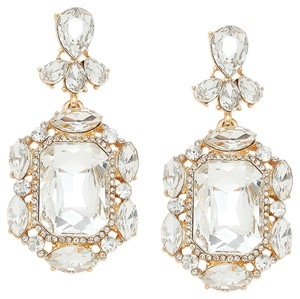 Emerald Cut Rhinestone Crystal Earrings