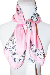 Moschino NEW MOSCHINO CHEAP AND CHIC WOMEN PINK BLACK SQUARE SCARF