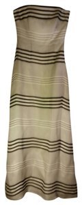 Kay Unger Striped Strapless Full Length Dress