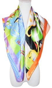 Moschino NEW MOSCHINO CHEAP AND CHIC WOMEN MULTICOLOR SQUARE SCARF 34X34