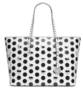 Michael Kors Michael Large Houndstooth Jet Set Travel & 888235208923 Tote in White / Black