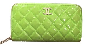 Chanel chanel long wallet green color