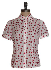 INC International Concepts Cotton Silk Polka Dot Top WHITE RED