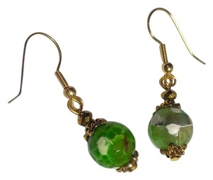 Other Lime Green Dragon's Vein Agate Gemstone Earrings Gold J2500