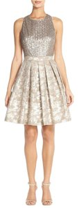 Aidan Mattox Sequin Metallic Gold Jacquard Dress