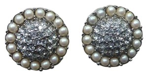 Carolee CAROLEE Sparkling Round Clip on Earrings Silver-Tone Crystal/Pearl NWT