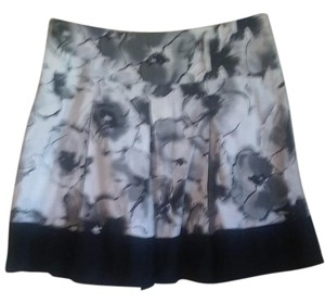 Candie's Edgy Floral Bold Stretchy Mini Skirt black, gray, white