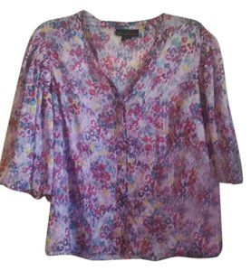 Attention Boho Floral Spring V-neck Top purple, violet, lavender, pink, blue