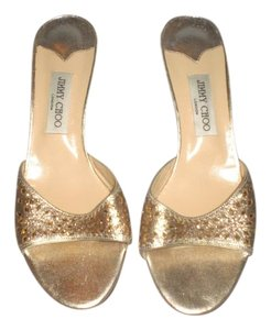 Jimmy Choo Heels GOLD GLITTERS Sandals