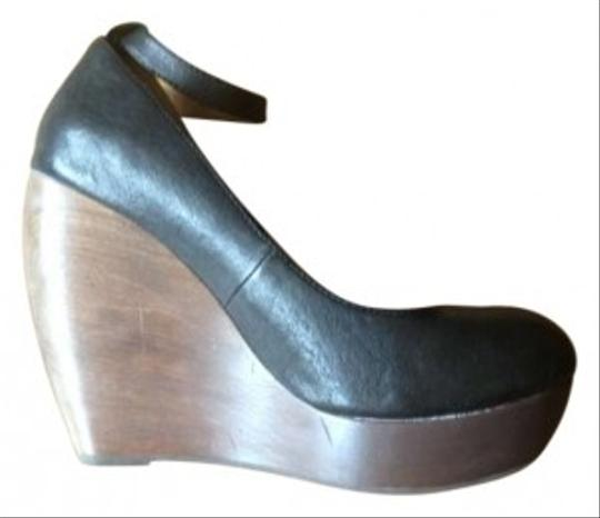 Shelly's Heel Brown Heel Ankle Strap Black Wedges