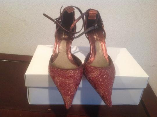 Peppe Peluso Sequin Covered Style Burgundy Pumps